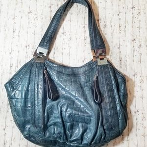 B. Makowsky Grey Green Leather Purse EUC